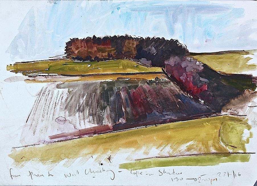 Salisbury Plain gouache sketch