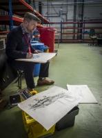Sketching Alpha Jet in live hangar